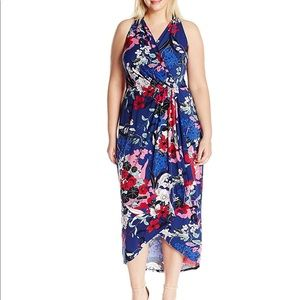 adrianna papell floral faux wrap halter dress